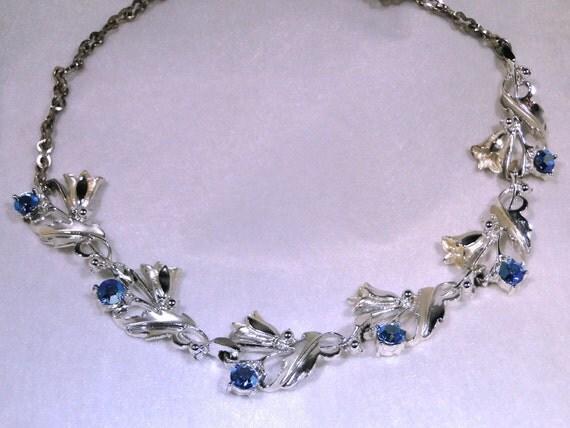 Clearance Vintage Cobalt Blue Rhinestones Floral Swirl  necklace - Nice Bridal  Wedding necklace (Something Blue )