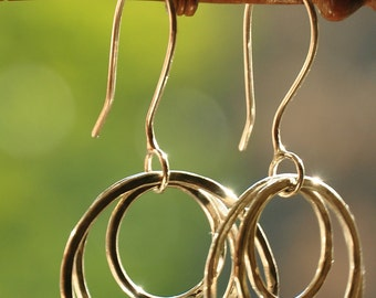 Sterling silver three loops hammered earrings, hand forged, unique