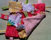Pink and Green Flowers, Minky Lovey tag ribbon blanket, Crinkle Noise