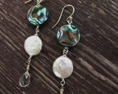 abalone earrings with freshwater pearl and crystal quartz- sterling silver-