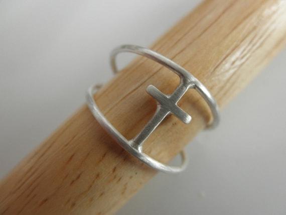 cross ring sterling silver