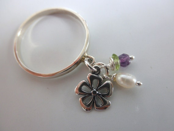 Flower charm ring sterling silver and mini gemstones dangles