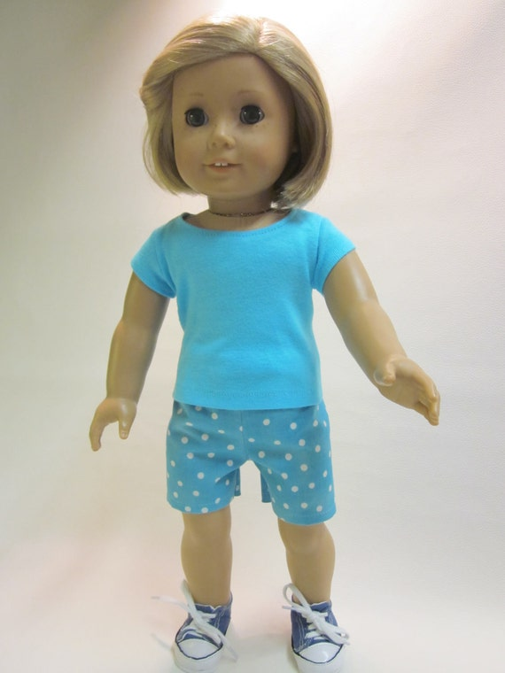 18 inch American Girl Doll Clothes - t-shirt and shorts-summer playclothes
