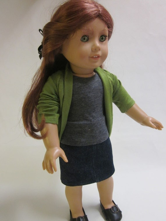 18 inch American Girl Doll Clothes - Skirt- T-shirt- and Free Slouch Cardigan