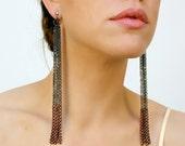 long chain earrings with copper fringe // GORGET aka the tassel earrings