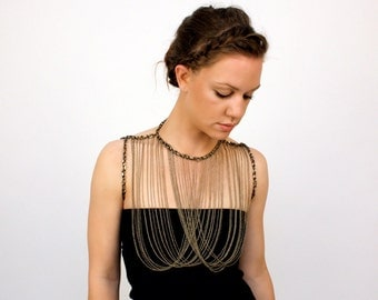 layered chain necklace / chain body jewelry // CUIRASS aka the chest plate