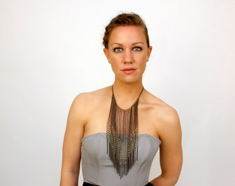 long chain fringe necklace, multi chain // LAMELLAR aka the chevron