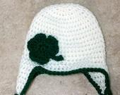 Instant Download - PDF St Patrick's Day Earflap Hat PATTERN - crochet - shamrock- all sizes