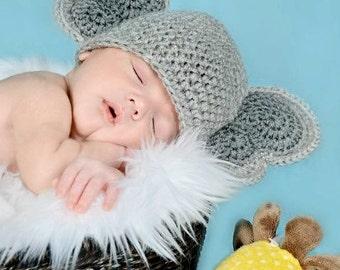 Instant Download PDF Crochet PATTERN Elephant Earflap Hat Newborn to Adult
