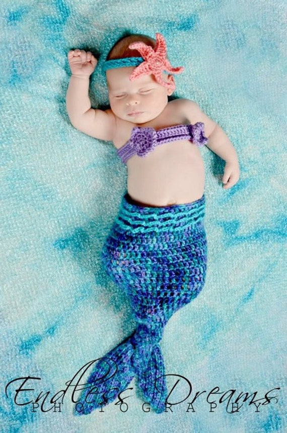 Instant Download - PDF Crochet Mermaid Tail Photo Prop Set - 3 Patterns in 1 - Newborn to 3 Months - Photography Prop