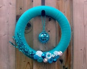 RESERVED FOR TARYN - Blue Christmas Yarn Wrapped Wreath, Jingle Bells, Flowers and Shimmer