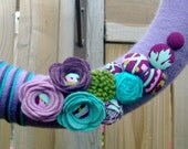Yarn Wrapped Wreath - Purple, Lilac, Turquoise, and Olive