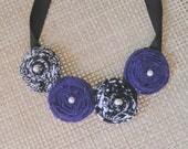 HALF PRICE SALE - Fabric Flower Bib Necklace in Purple and Damask with Pearl Accents