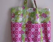 Tote Bag Pink - Six Pocket Purse - Pink and Green