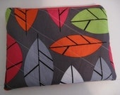 Quilted Cosmetic Bag - Zippered Pouch- Orange Green Pink Gray White Black