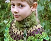 Upcycled moss green girls crochet Bear Button woolen collar 4-12 yrs