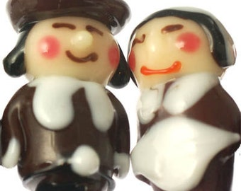 Handmade Lampwork Glass Beads --- Thanksgiving Pilgrims