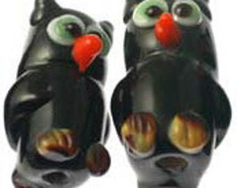 Handmade Lampwork Glass Beads -- Halloween Owls (10)