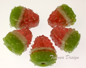 Handmade Lampwork Glass Beads -- Sweet Watermelon