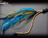 Feather Hair Clip: Royal Blue and Peacock Feathers