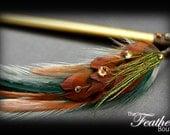 Feather Hair Stick: Brown Pheasant Hearts with Swarovski Rhinestones
