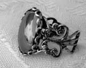 Haematite ring filigree gothic steampunk victorian antique silver adjustable healing stone womens jewelry Christmas gift black hematine