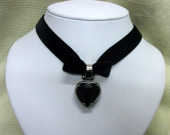 Black velvet choker Gothic heart necklace  Victorian Steampunk jewelry womens clothing accessories valentines gift statement adjustable