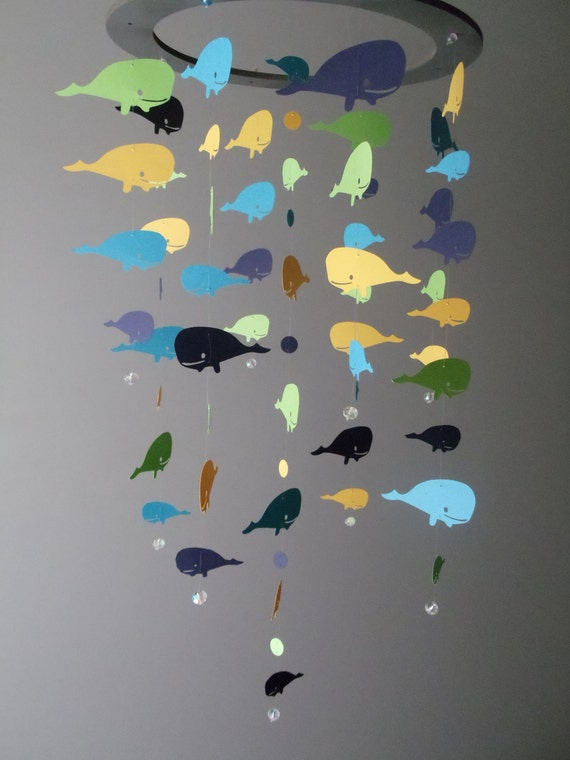 Whale Mobile - Blue, Yellow, Navy and Green