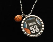 Basketball Shirt Personalized Bottlecap Charm Necklace w/ Basketball Charm