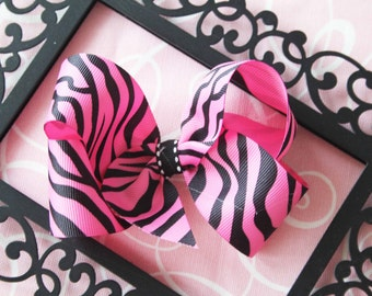 Large Hot Pink and Black Zebra Bow