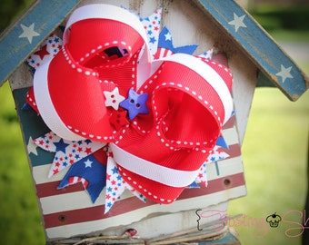 Firecracker Stack Bow- Red, White, Blue- Patriotic