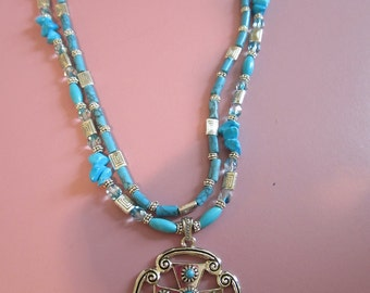 Double strung turquoise necklace with silver cross pendant and FREE matching earrings