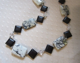 Black and white gemstone necklace with FREE matching earrings