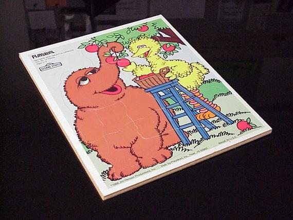 Vintage 1988 Playskool Sesame Street Big Bird and Snuffle-Upagus Board Puzzle Jim Henson Muppets 13 Pieces