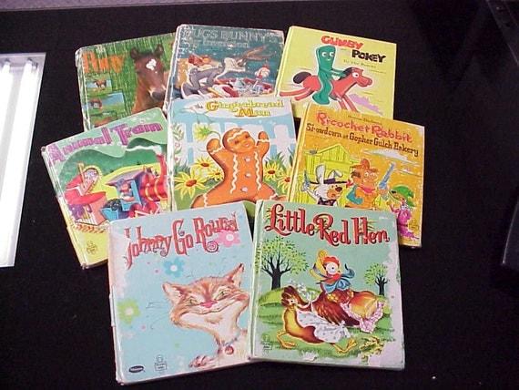 8 Vintage Whitman Tell-a-Tale Books Ricochet Rabbit Little Red Hen Children's Story Book