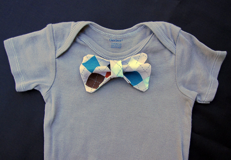 custom onesie with argyle bow tie