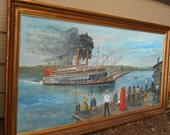 river STEAMBOAT large oil PAINTING Signed Ashley H Russell HUGE