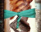 Cowhide Journal with Kelly Green Lining