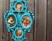 vintage 70s upcycled painted aqua BLUE french collage photo WALL picture FRAME montage