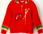 vintage 70s red embroidered boys girls toddler ARTIST PALETTE & brushes HOODIE Sweater shirt hooded top 2T 3T 2/3