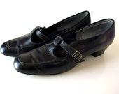 vintage black 60s 70s mod vegan T Strap MARY JANE Shoes women 9 10