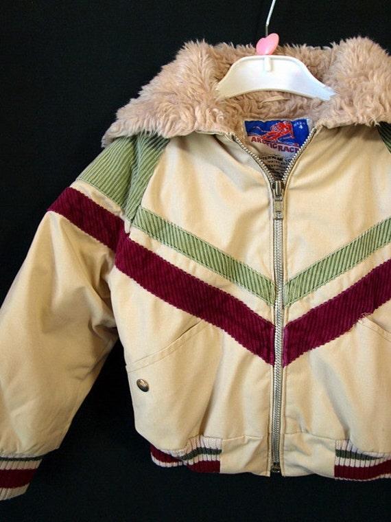 vintage 70s boys kids Chevron striped corduroy Hooded warm winter COAT jacket hoodie youth size 3T 4