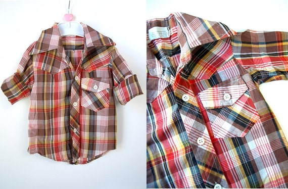 vintage kids toddler 2T brown plaid WESTERN SHIRT button up top cowboy hipster baby 18 mo month cowgirl