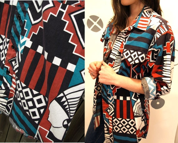 vintage 80s navajo SOUTHWEST indian head headdress oversize one size SLOUCHY boho TOP shirt womens or mens xl/l