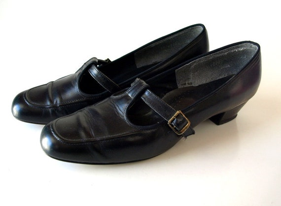 vintage black 60s 70s mod vegan T Strap MARY JANE Shoes women 9 10