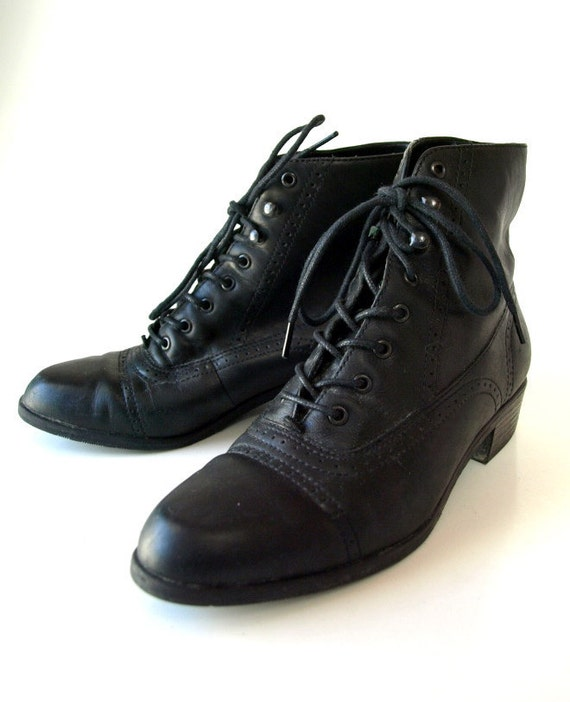 vintage 80s Black granny lace up oxford leather ankle BOOTS shoes womens 6