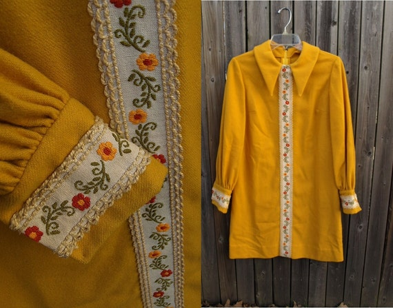 Reserved vintage 60s 70s mod MUSTARD YELLOW embroidered trim yellow mini DRESS m