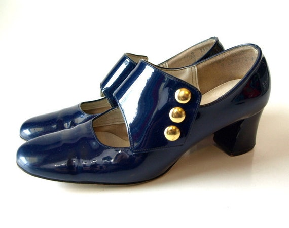 Vintage 60s navy mod mary jane SHOES 5.5/ 6