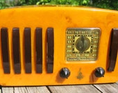 ON HOLD-Emerson Radio Catalin Bakelite Tube Radio 5 and1 Yellow & Brown Catalin 1930's