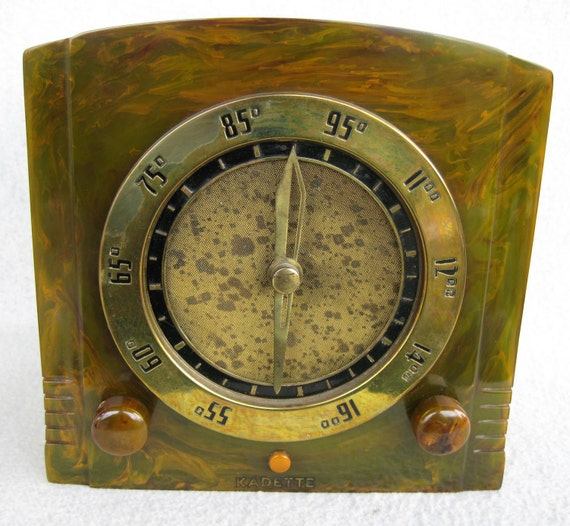 Kadette Radio Catalin Bakelite Tube Radio Green Clockette 1930's